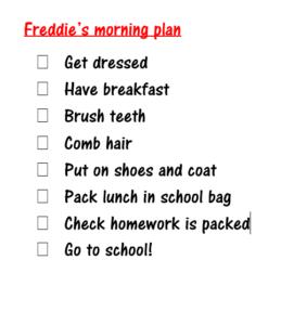 written schedule example