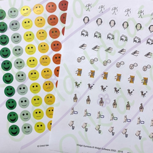 sticker sheets to supplement feelings notebook