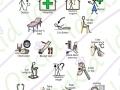 health check and haircuts symbols, medical