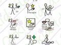 health check and haircuts symbols, therapy