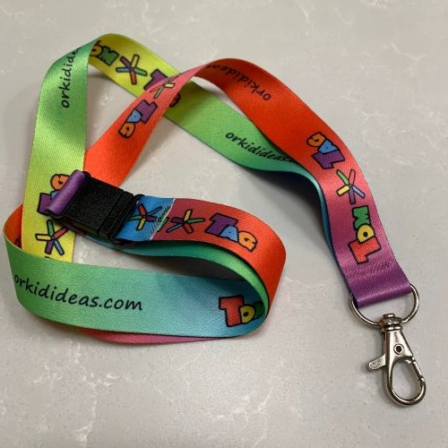 rainbow lanyard with tomtag logo and clip