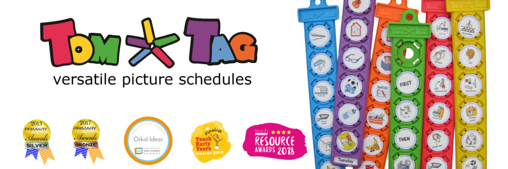 Intro image with text TomTag visual picture schedules